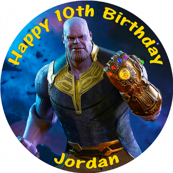 THANOS AVENGERS INFINITY WAR EDIBLE ROUND BIRTHDAY CAKE PERSONALISED DECORATION